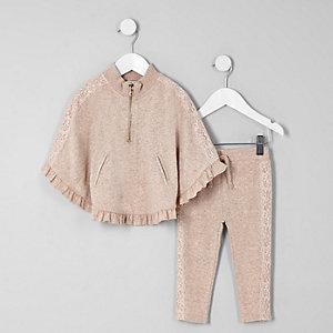 Mini - Outfit met beige poncho met kanten zoom voor meisjes