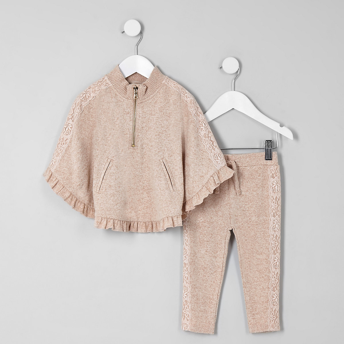 Mini girls beige lace trim poncho outfit
