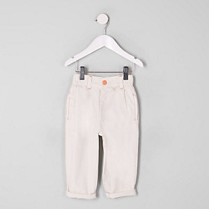 Mini girls cream mom jeans