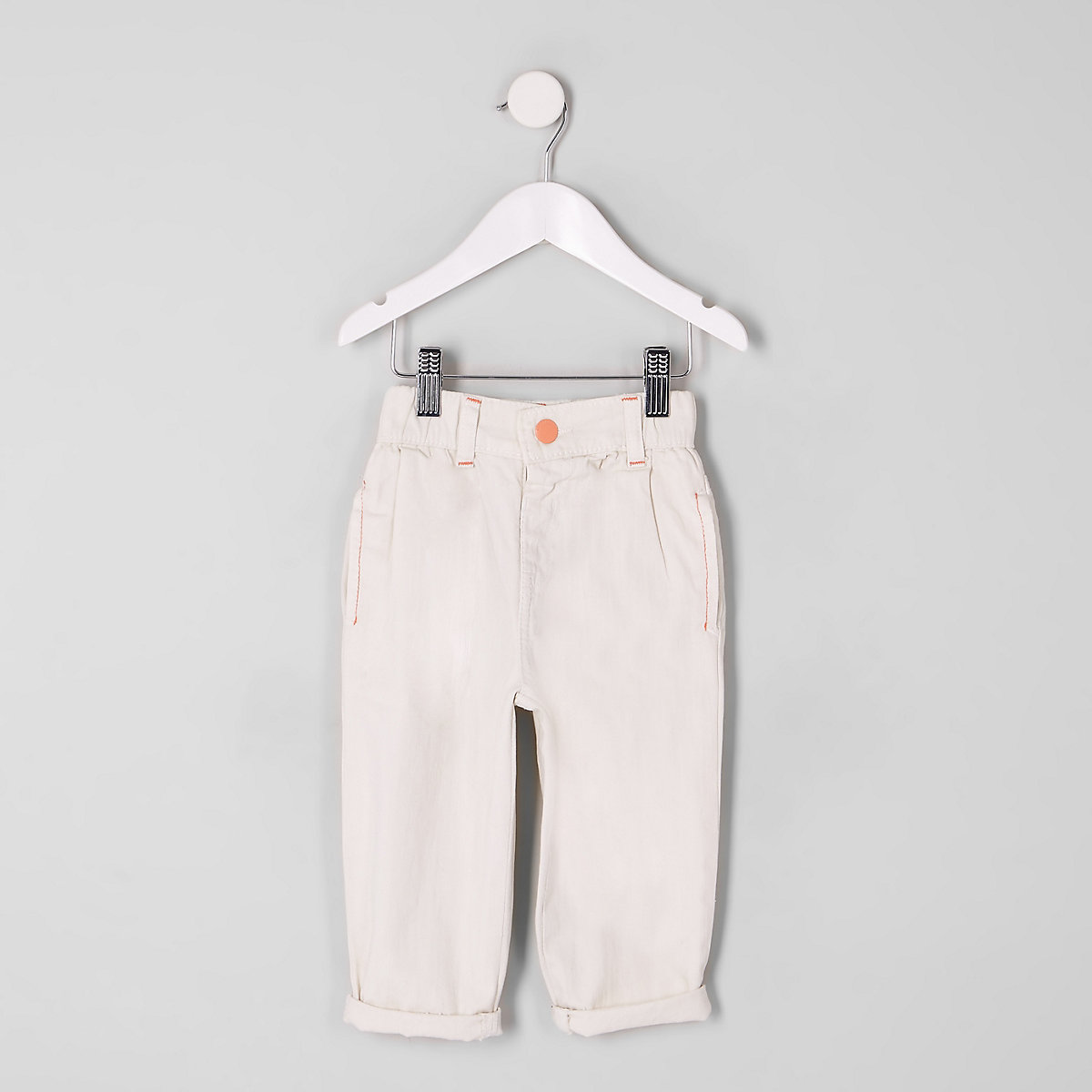 Mini girls cream mom jeans