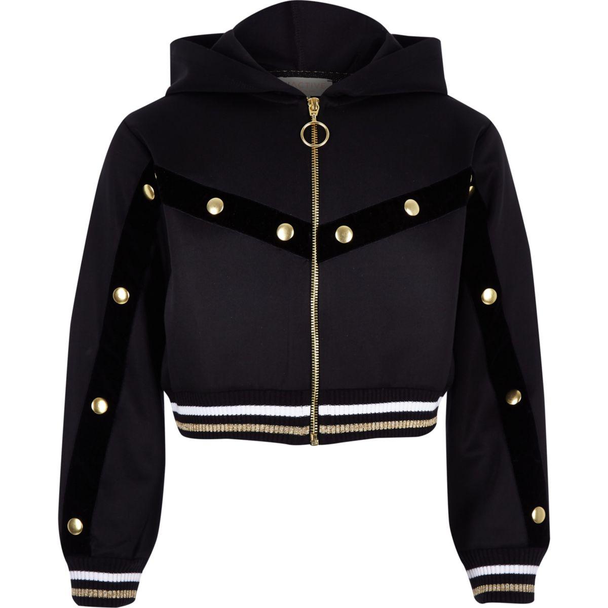 Girls RI Active black popper zip hoodie