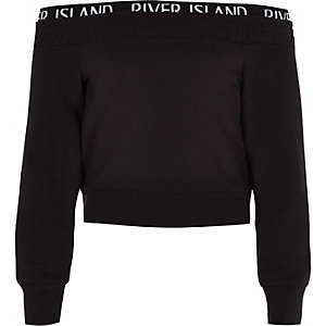 Girls RI Active black bardot sweatshirt