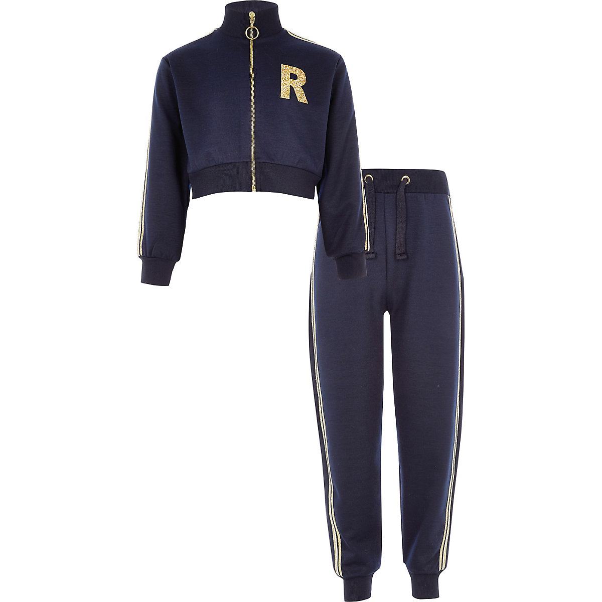 Girls navy 'R' glitter tracksuit outfit