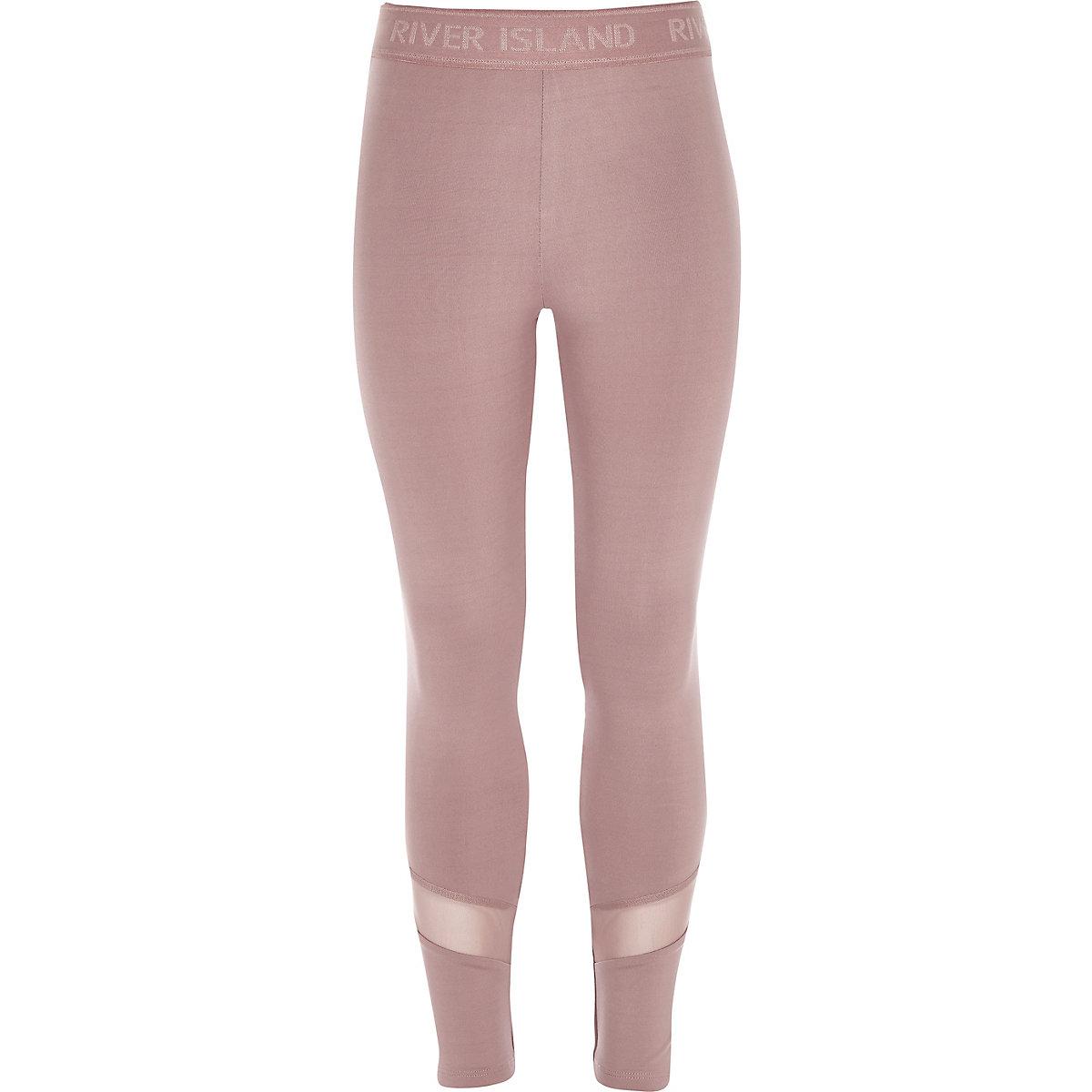 Girls RI Active light pink panelled leggings