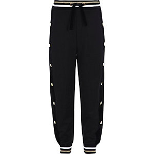 Girls black popper side tipped joggers