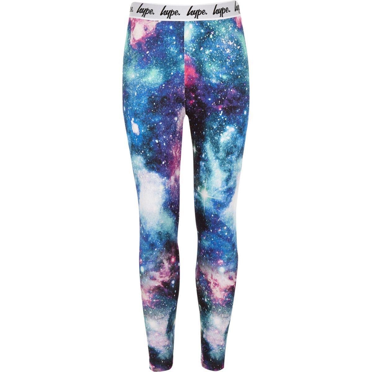 Girls Hype black galaxy print leggings