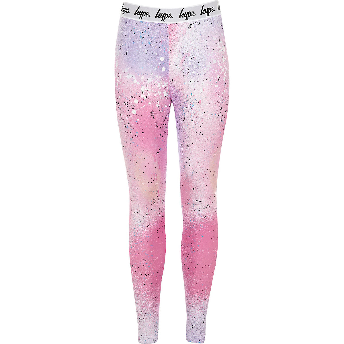 Girls Hype pink spray speckled leggings