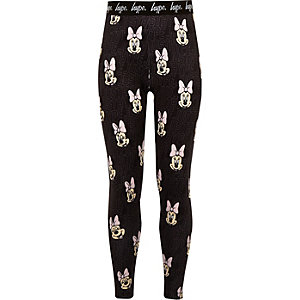 Girls black Hype Minnie Mouse leggings