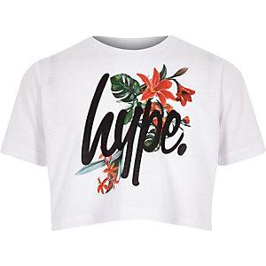 Hype - Wit kort T-shirt met bloemen voor meisjes