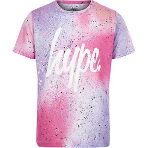 Girls Hype pink spray speckled T-shirt