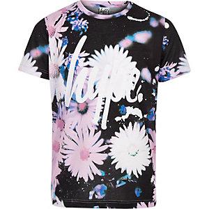 Hype - Zwart T-shirt met bloemetjesprint voor meisjes