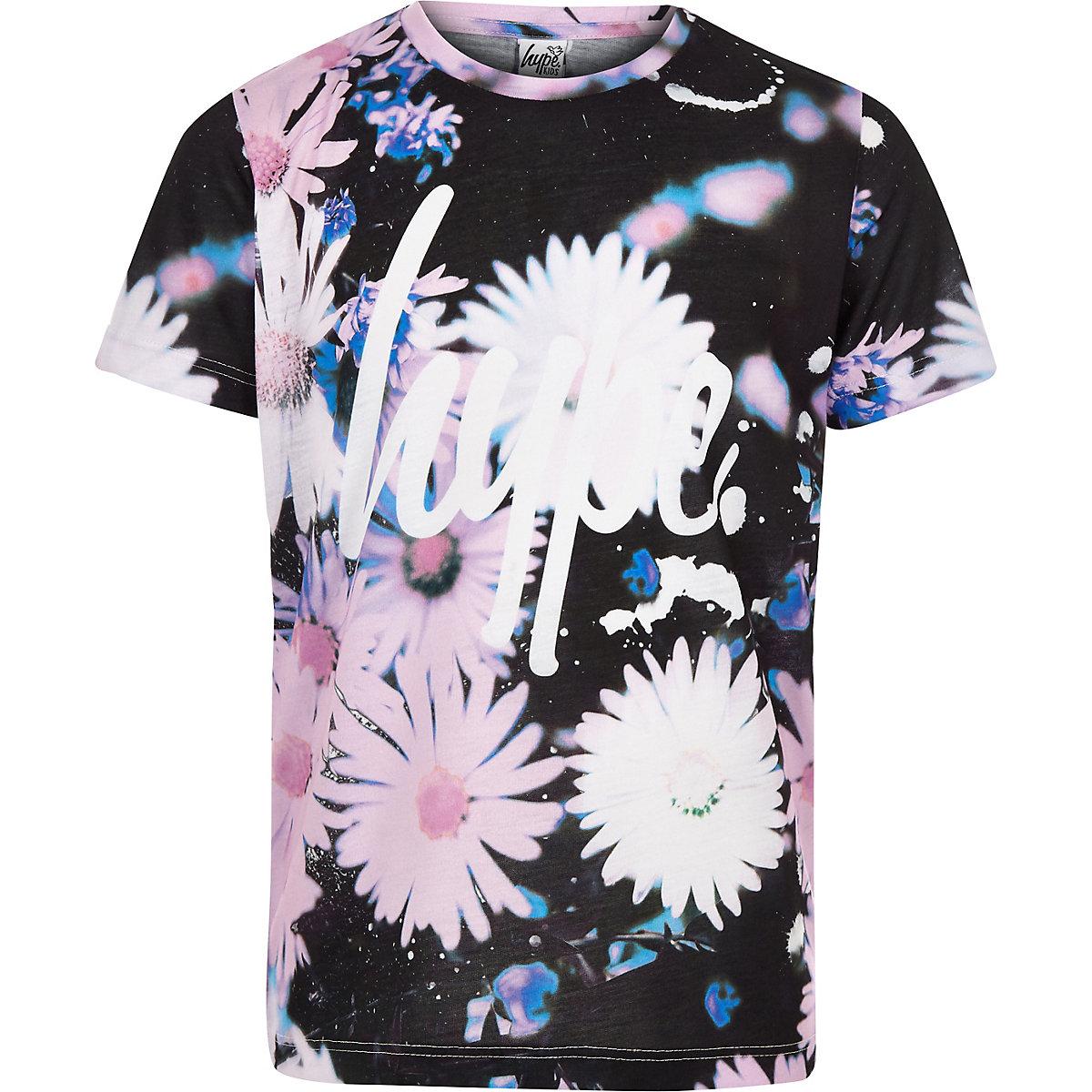 Girls Hype black daisy print T-shirt