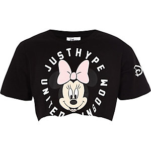 Girls black Hype Minnie Mouse crop top