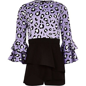Girls purple leopard print skort playsuit