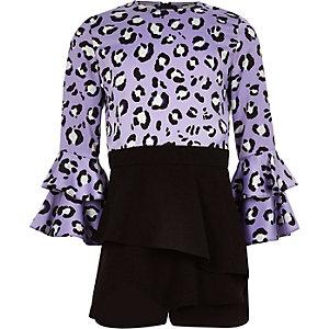 Girls purple leopard print skort romper