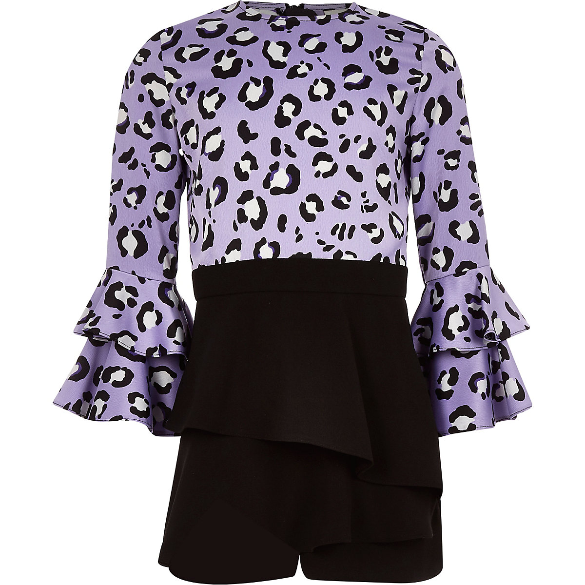Girls purple leopard print skort playsuit