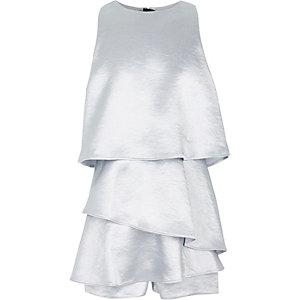 Combi-short argenté style jupe-short fille