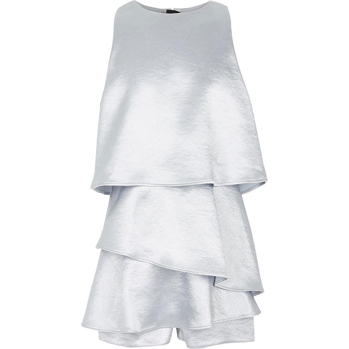 Girls silver skort playsuit