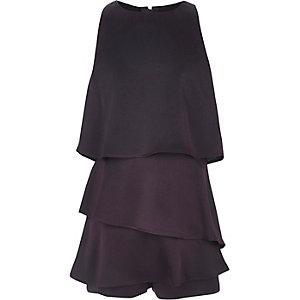 Combi-short en satin violet style jupe-short fille