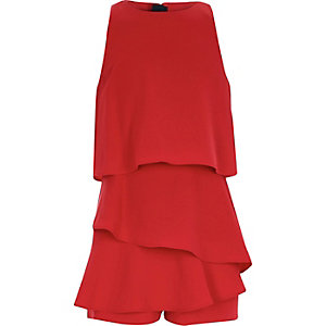 Girls red skort frill playsuit