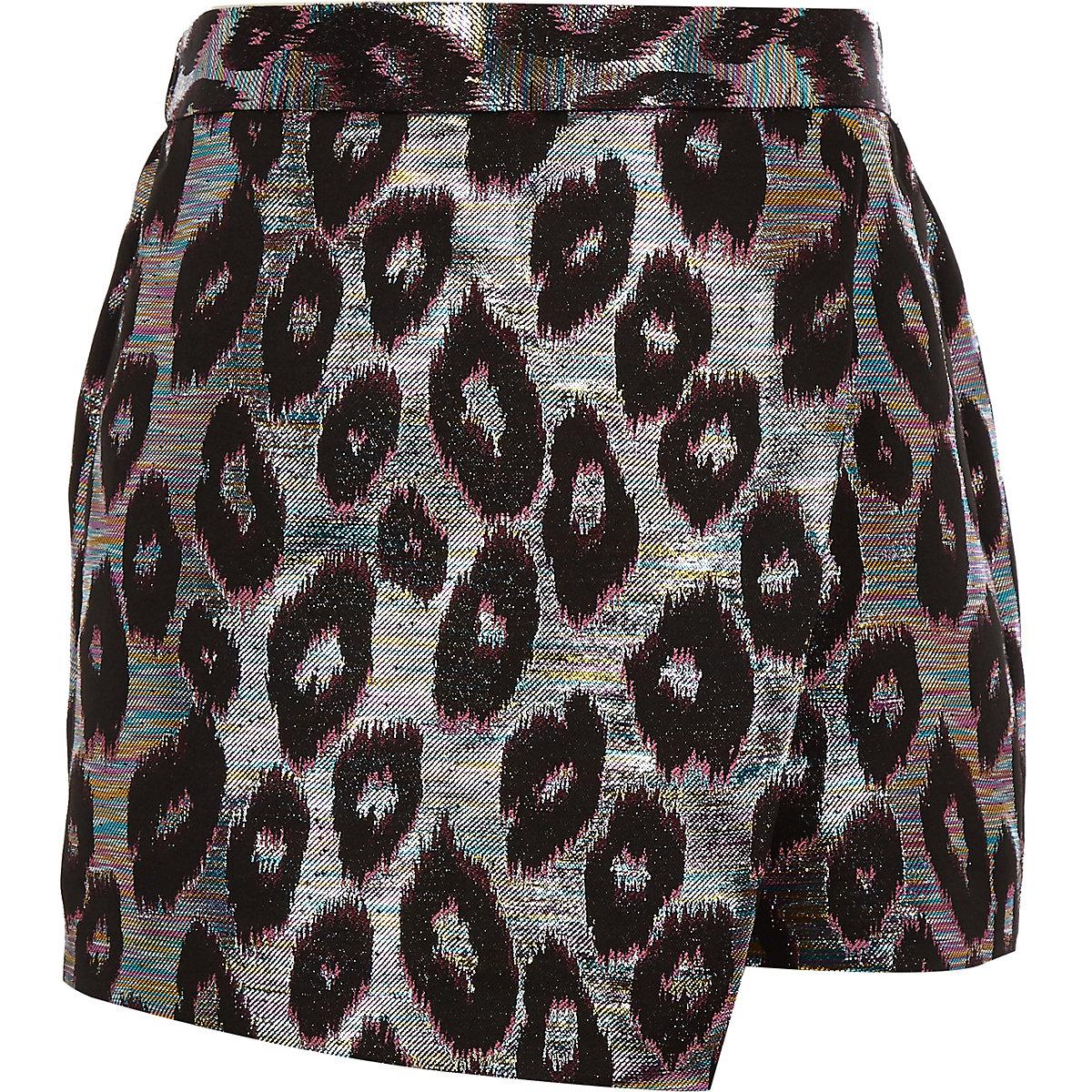 Girls leopard print jacquard skort