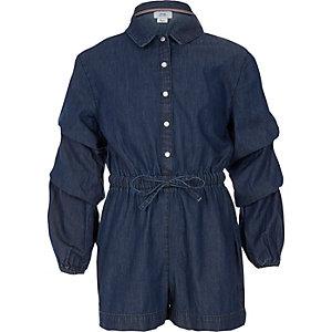 Girls blue denim long sleeve romper
