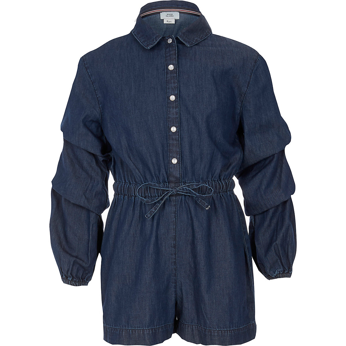 Girls blue denim long sleeve playsuit