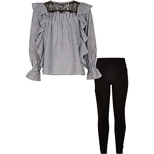 Girls blue frill shirt and leggings outfit
