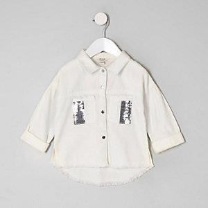 Mini girls white sequin shacket