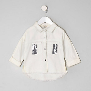 Mini girls white sequin shacket