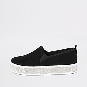 Girls black rhinestone sole plimsolls