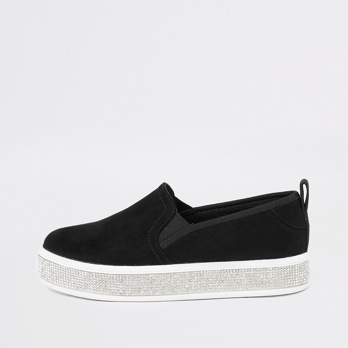 Girls black diamante sole plimsolls
