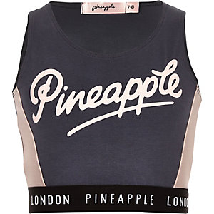 Girls Pineapple charcoal grey mesh crop top