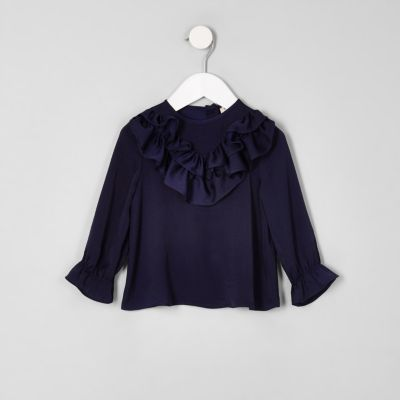 Mini Girls Navy Satin Frill Swing Top by River Island