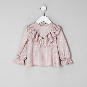 Mini girls pink metallic stripe swing top