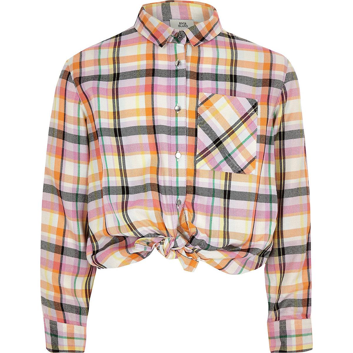 Girls yellow check tape tie front shirt