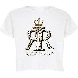 Girls white leopard print crown crop T-shirt
