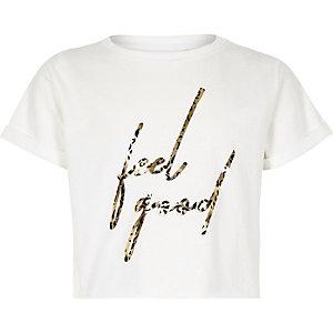 Wit T-shirt met 'feel good'- en luipaardprint voor meisjes