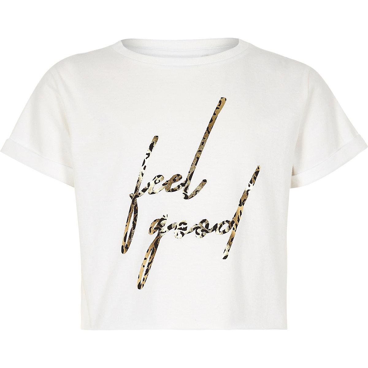 Girls white 'feel good' leopard print T-shirt