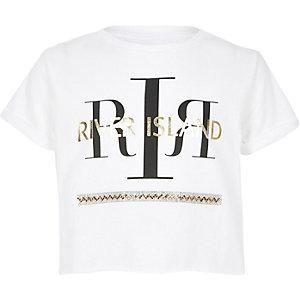 T-shirt blanc à logo RI orné de sequins pour fille