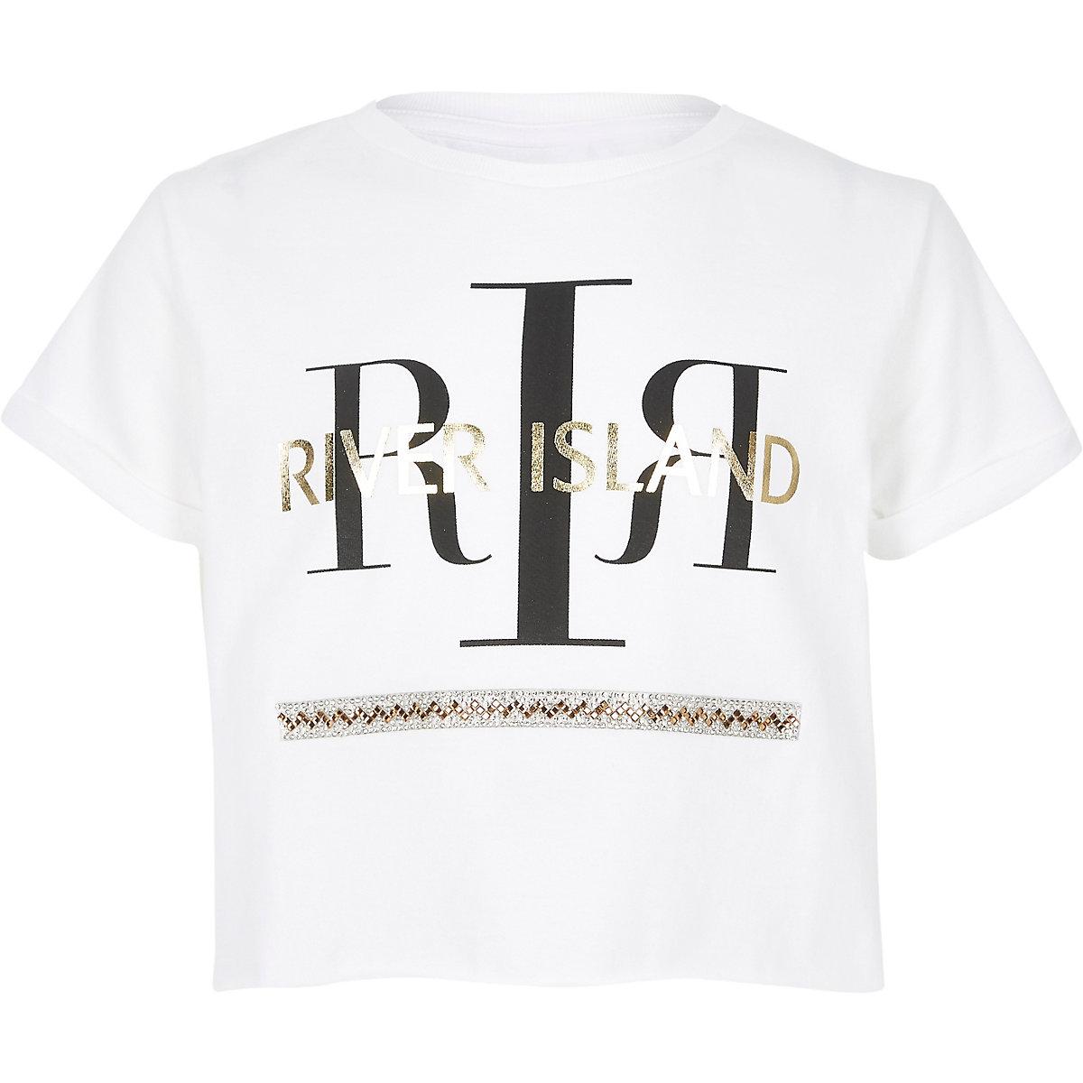 Girls white RI sequin embellished T-shirt