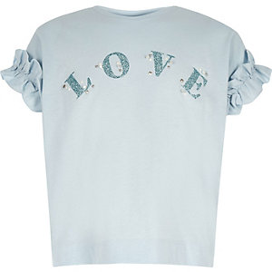 T-shirt « Love » bleu à volants pour fille