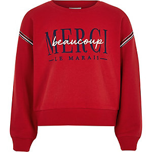Girls red 'Merci beaucoupe' sweatshirt