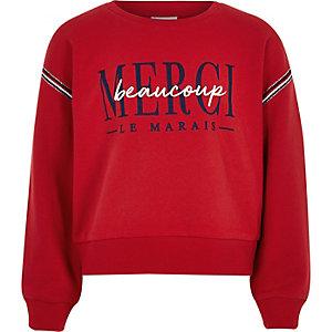 Rood sweatshirt met 'Merci beaucoup' voor meisjes