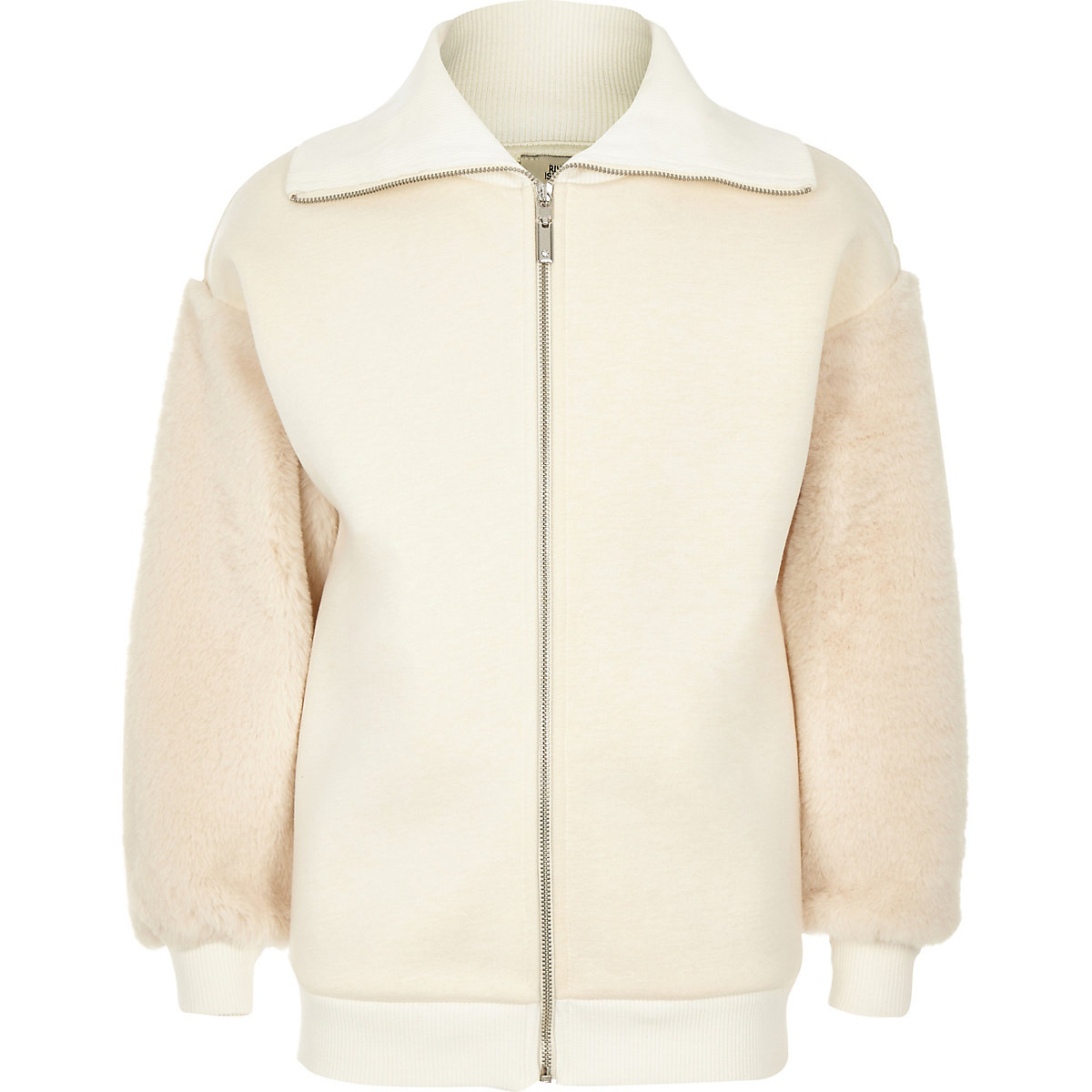 Girls cream faux fur trim zip-up sweatshirt
