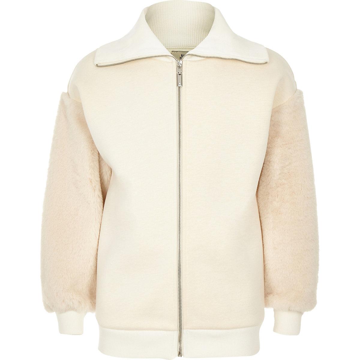 Girls cream faux fur trim zip-up sweatshirt