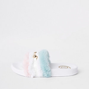 Girls white multi faux fur snaffle sliders