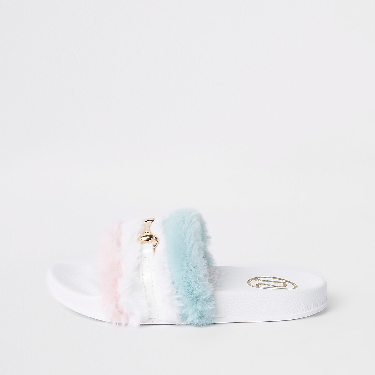 Girls white multi faux fur snaffle sliders