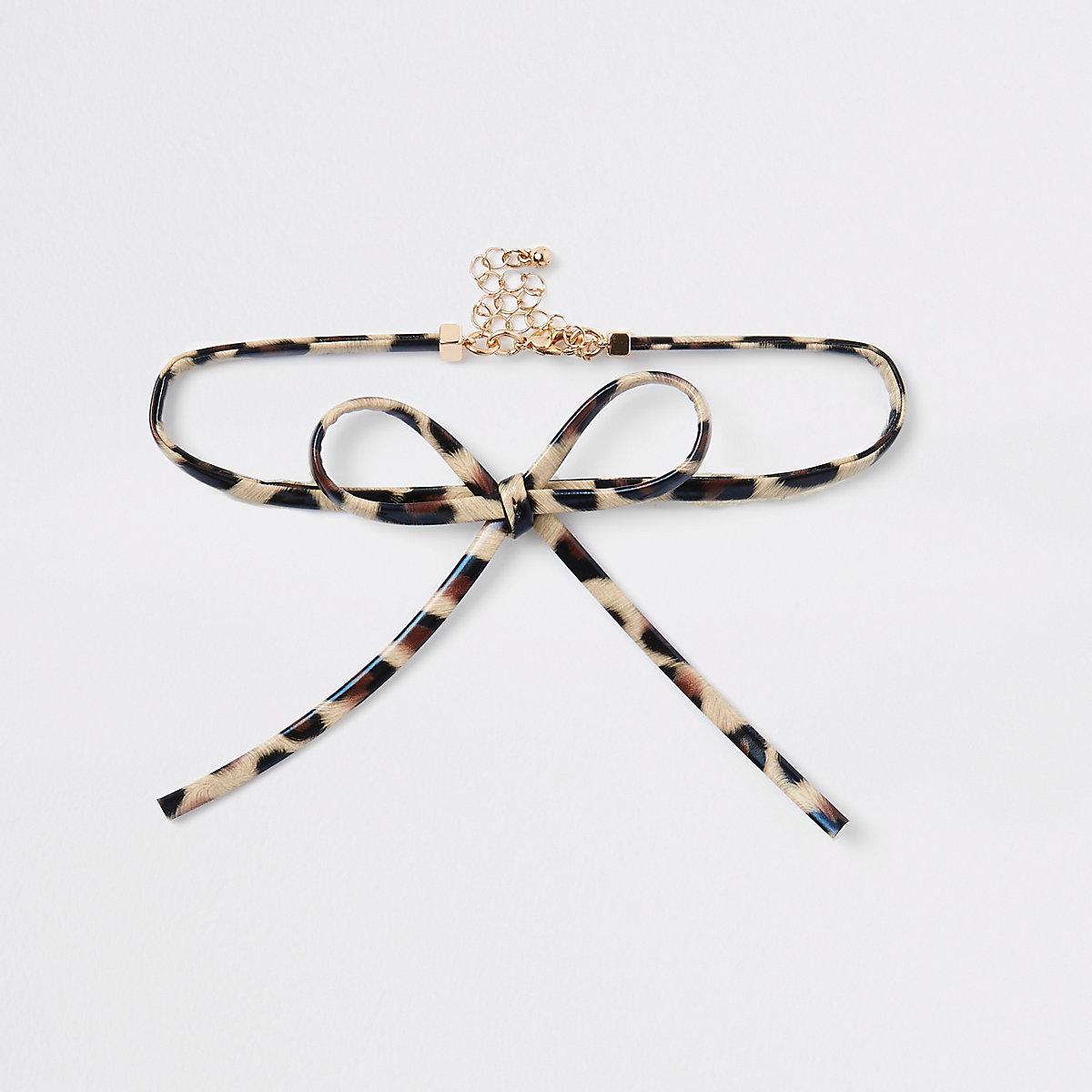 Brown leopard print bow choker