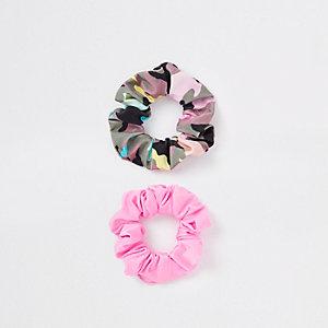 Roze Camo + roze 2pk scrunchie